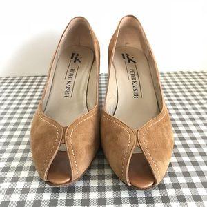 Peter Kaiser heels brown tan US 9 UK 6 1/2 leather